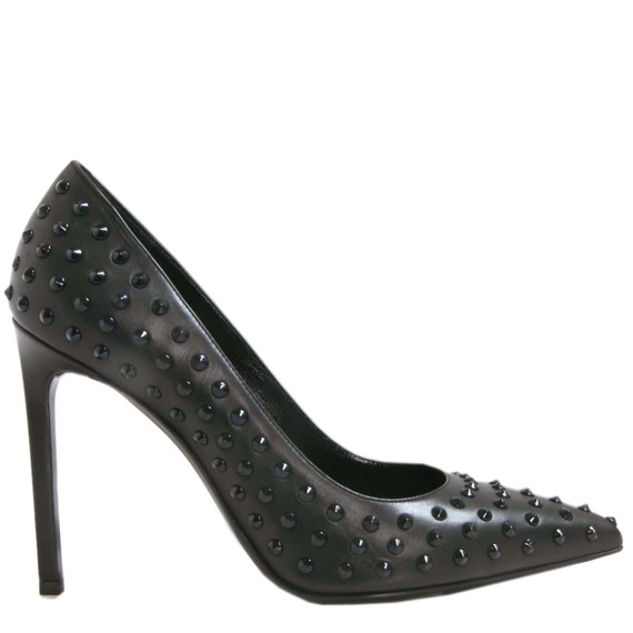 Nib Saint Laurent Black Studded Leather Pumps
