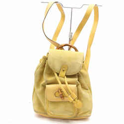 Gucci Yellow Suede Bamboo Backpack 867509