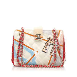White Chanel Matelasse Printed Cotton Shoulder Bag