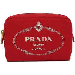 New Prada Red Canapa Zip-top Hemp Fabric Clutch Pouch Cosmetic Bag