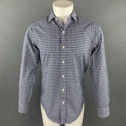 RALPH LAUREN Size S Navy & White Checkered Cotton Button Up Long Sleeve Shirt