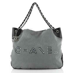 Logo Tote Striped Canvas Large