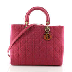 Lady Dior Bag Cannage Quilt Tweed Large