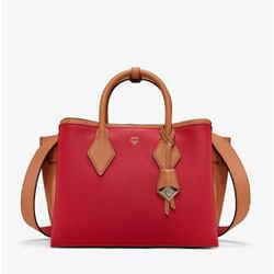 $1120 Mcm Milano Ruby Red Leather Medium Tote Shoulder Bag Mwt9ama83ru001