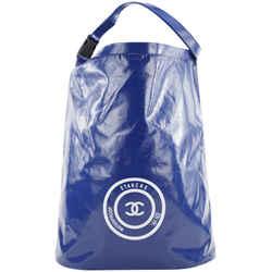 Chanel XL Blue CC Sports Logo Etanche Waterproof Bucket Hobo Tote 256cks212