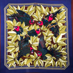 Les Perroquets Hermes Scarf By Joachim Metz Rare Early 90 Cm Cashmere Silk Issue | Carre De Paris