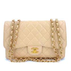 Chanel Beige Clair Caviar Jumbo Classic Flap Bag GHW