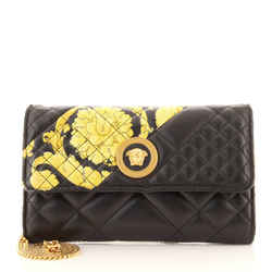 Icon Wallet on Chain Quilted Printed Leather