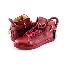 Buscemi Leather 100mm Guts Mid Top Sport Red Sz US 5 Authenticity Guaranteed