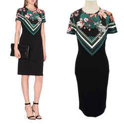 Sz 40 NEW $915 ROBERTO CAVALLI Black Green FLORAL PRINT Jersey Spring DRESS 4/6