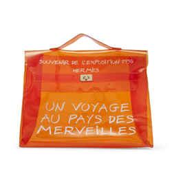 Hermes 1998 Vinyl Souvenir De L'Exposition Translucent  Kelly Orange 860869