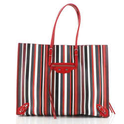 Papier A4 Zip Around Classic Studs Bag Striped Leather Large