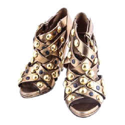 Gucci Babouska Studded Cage Sandals Yellow/gold Size 7 Authenticity Guaranteed