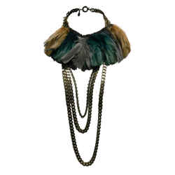 Lanvin Chunky Brass Chain Link Necklace with Teal Feathers