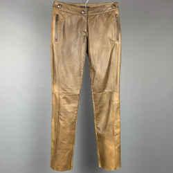 PRADA Size 2 Brown Burnished Leather Straight Leg Dress Pants