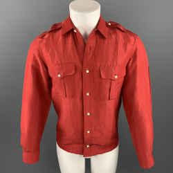 RALPH LAUREN Black Label Size S Red Linen / Silk Button Up Long Sleeve Shirt