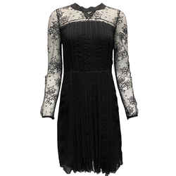 Prada Black Pleated Lace Dress