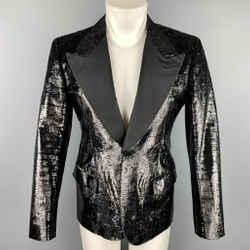 Bally Size 38 Black Metallic Tinsel Velvet Peak Lapel Blazer