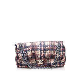 Vintage Authentic Chanel Multi Nylon Fabric Jumbo Printed Single Flap Bag Italy