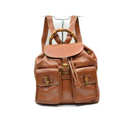 Gucci Brown Leather Bamboo Backpack 863265