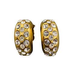 Chanel Vintage Gold Tone Rhinestone Half Hoop Clip On  Earrings