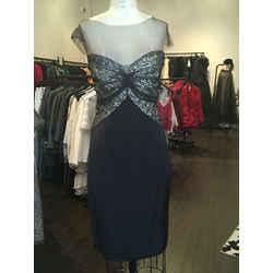 Monique Lhuillier Size 4 Black Silk Satin Silver Sequin Netting Dress Nwot