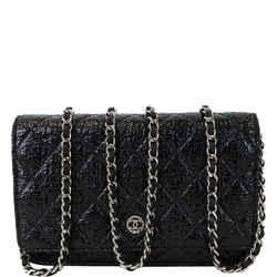 Cc Aged Lambskin Wallet On Chain Woc Crossbody Bag Black