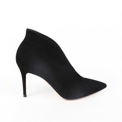 Gianvito Rossi Booties Vamp Black Suede Pointed SZ 41