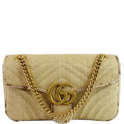 GUCCI GG Marmont Raffia Small Shoulder Bag Beige 443497