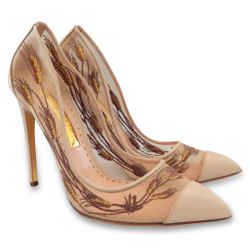 NEW RUPERT SANDERSON Gold Oat Embroidered Mesh Pumps - Nude - Size 40
