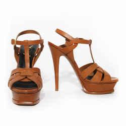 Saint Laurent Paris Brown Leather Tribute Platform Sandal