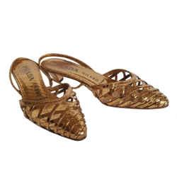 Prada Metallic Copper Cut Out Python Slingback Shoes (36.5)