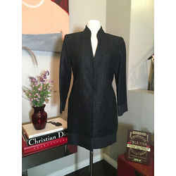 Fendi Size 42 Black Viscose Blend Coat 369-126-8820
