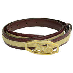 Authentic Celine Belt Burgundy Leather GP Horse Carriage Design Buckle