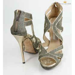 Jimmy Choo Gold Collar Lame Glitter Light Bronze Platform Sandals