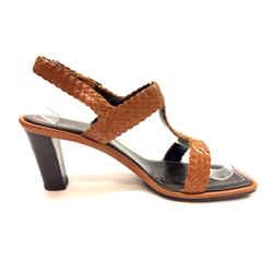 Escada Tan Intreciatto Woven Leather T-strap Heel Sandals