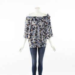 Chloe Blue Floral Print Ruched Cotton Off Shoulder Top SZ 42