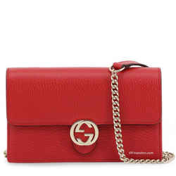 Gucci Interlocking G Leather Crossbody Red