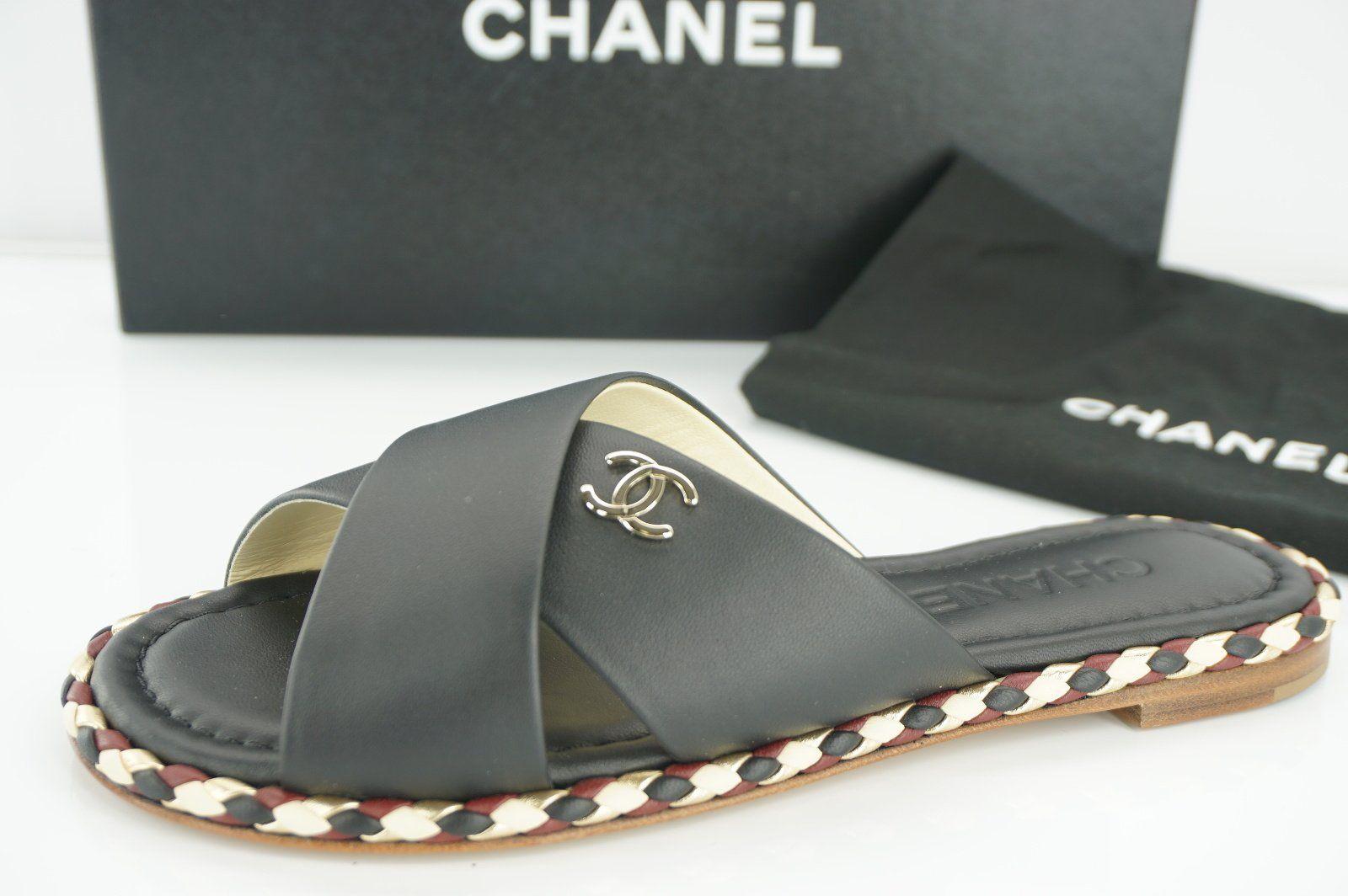Chanel Black Crisscross Logo Mule