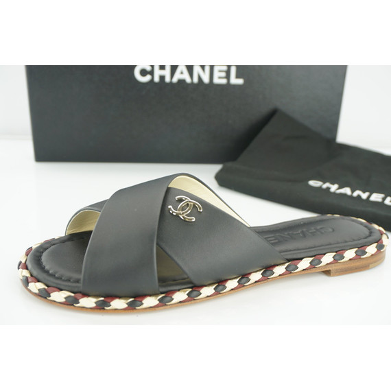 Chanel Black Crisscross Logo Mule Sandals Sz 36 Slide $1295 Nib Cc