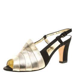 Salvatore Ferragamo Metallic Striped Leather Peep Toe Sandals Size 38.5