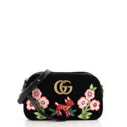 GG Marmont Flap Bag Embroidered Matelasse Velvet Small