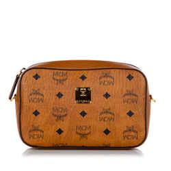 Vintage Authentic MCM Brown Calf Leather Visetos Crossbody Bag Korea