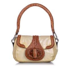 White Prada Vernice Cocco Pattina Sottospalla Handbag Bag