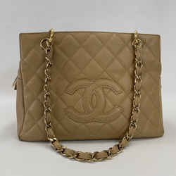 Authentic Chanel Beige Caviar Petite Timeless Tote