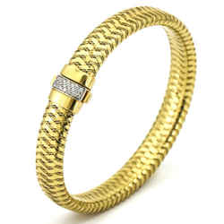 Roberto Coin Primavera Woven Diamond Bracelet In 18k Yellow Gold Large