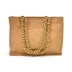 Vintage Chanel Jumbo XL Beige Lambskin Leather Shopping Tote Bag