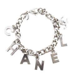 Chanel Silver CC Spelled Out Chain Bracelet