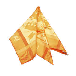 Orange Hermes Jeux d Ombres Silk Scarf