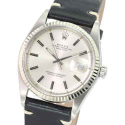 Rolex Mens Datejust Stainless Steel 36mm Silver Dial 14k White Gold Fluted Bezel Black Leather Band Watch